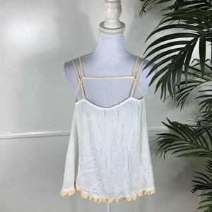NEW Free People Strappy White Tank Top Large